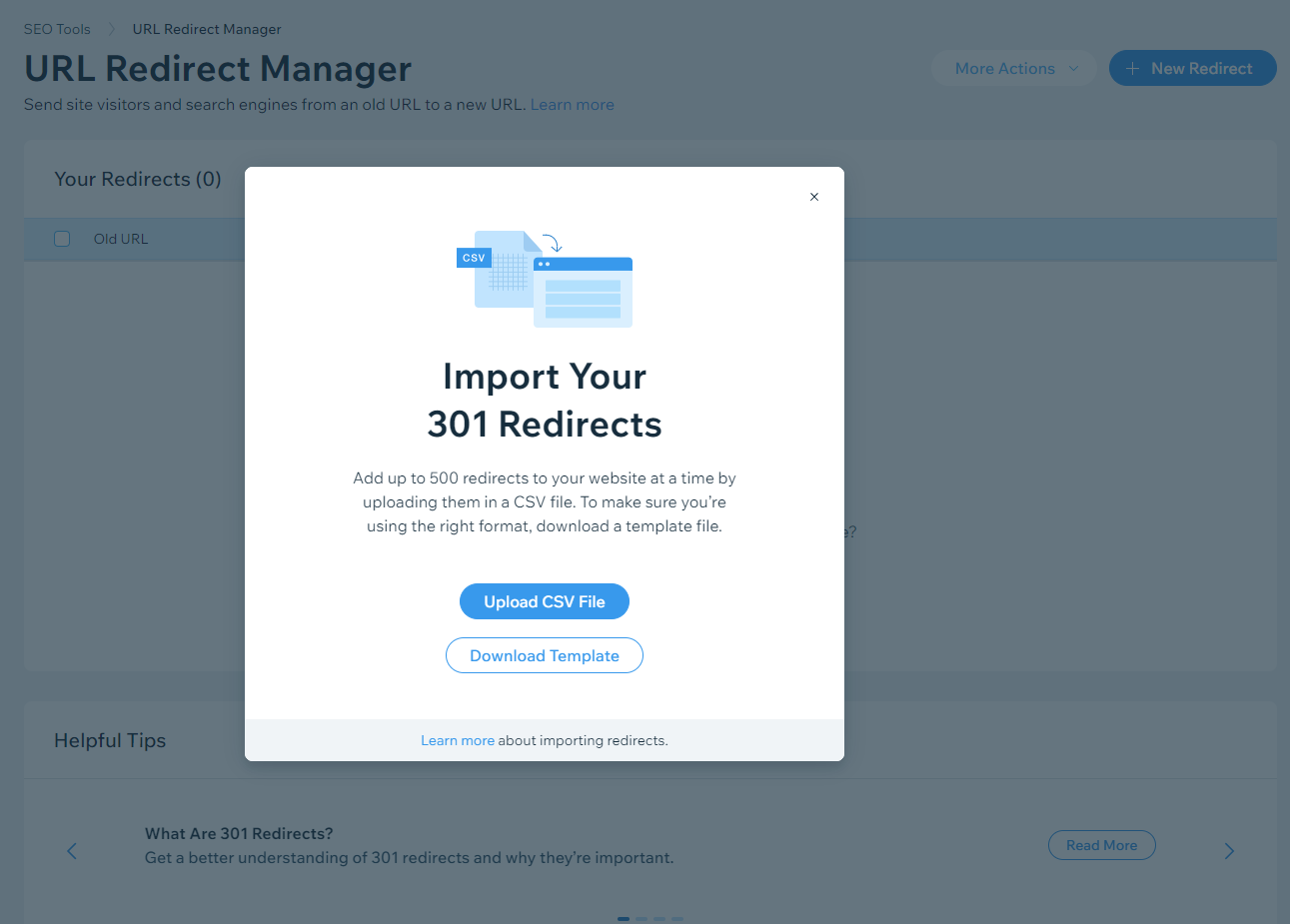 The bulk redirect option found within Wix's Redirect Manager tool