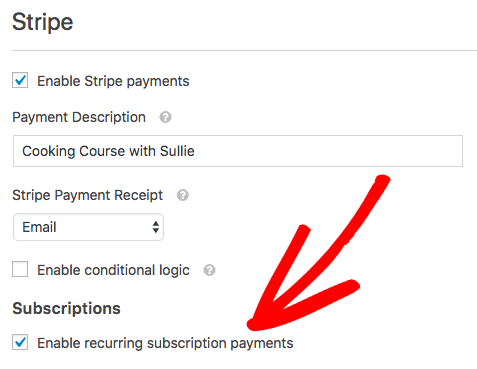 enable stripe payment with wpforms