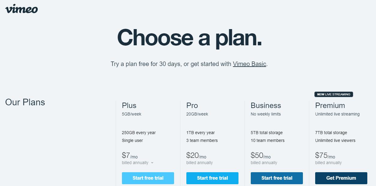 Vimeo's landing page