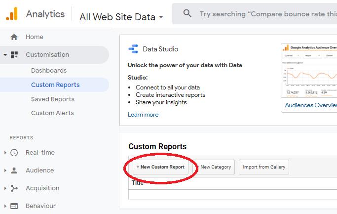adding a new custom report in Google Analytics