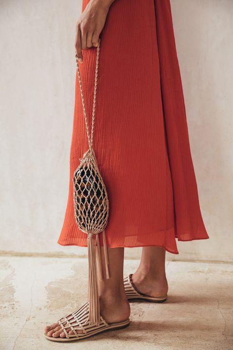 Clothing, Red, Maroon, Outerwear, Orange, Brown, Footwear, Fashion, Shoulder, Leg,