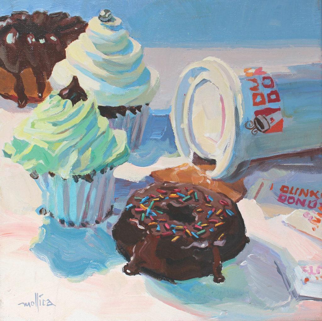 Dunkin 'Donuts của Patti Mollica, acrylic trên vải;  ví dụ về phối màu bổ sung phân chia |  Cách chọn phối màu