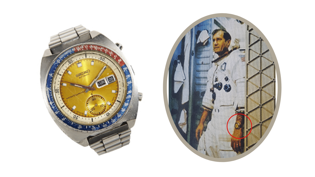 The original Seiko Pogue watch and a photo of Colonel Pogue wearing it on a space shuttle