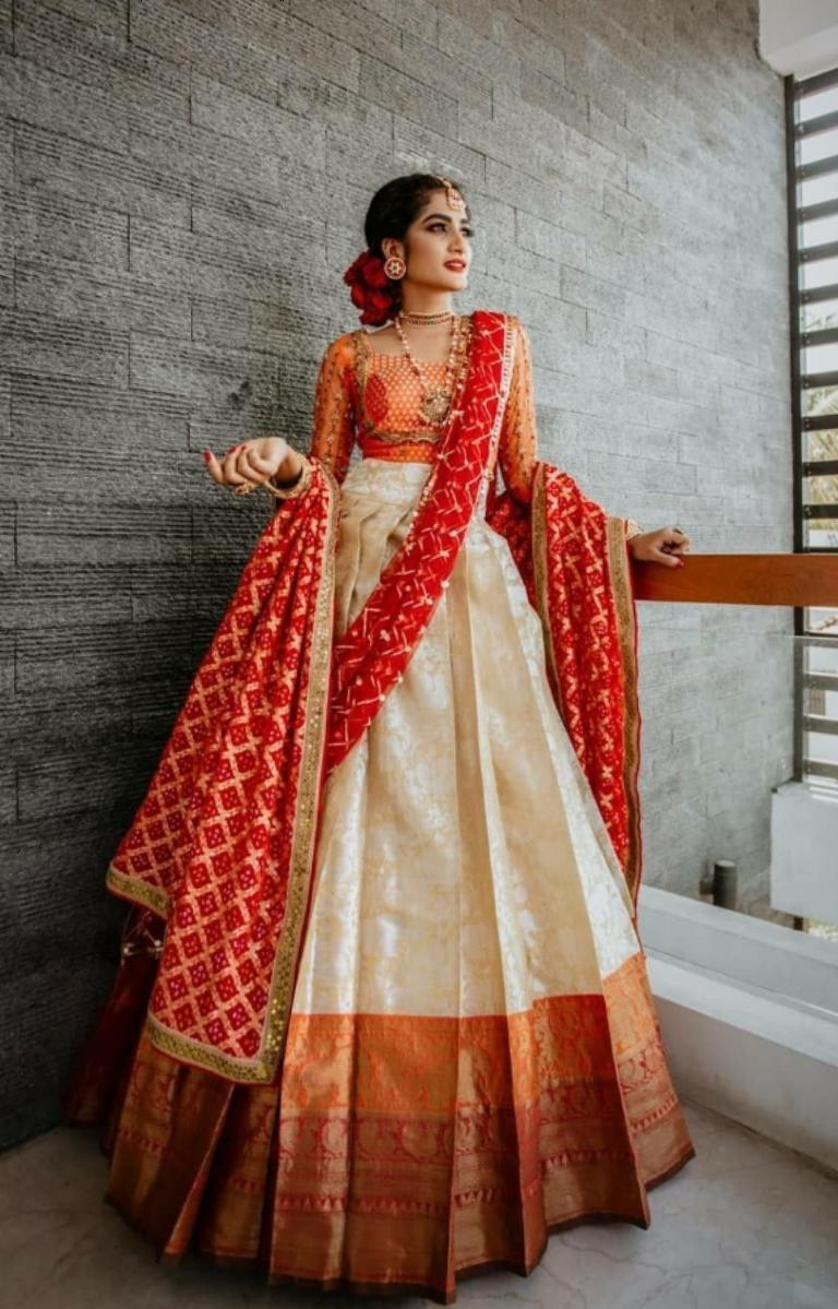 Saree draped as a lehenga