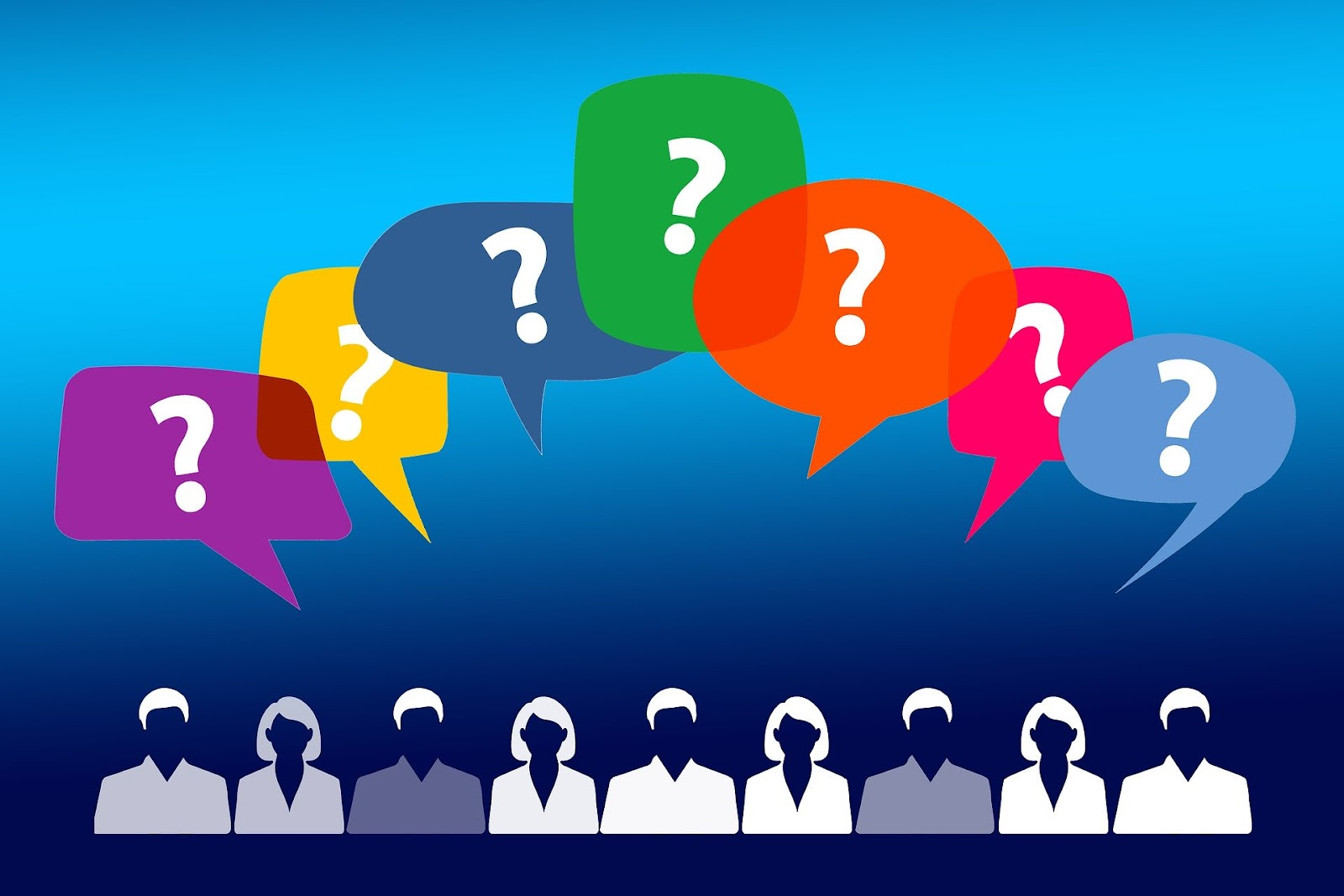 Several people with different speech bubbles above their heads. There are different ways of how to learn a language.