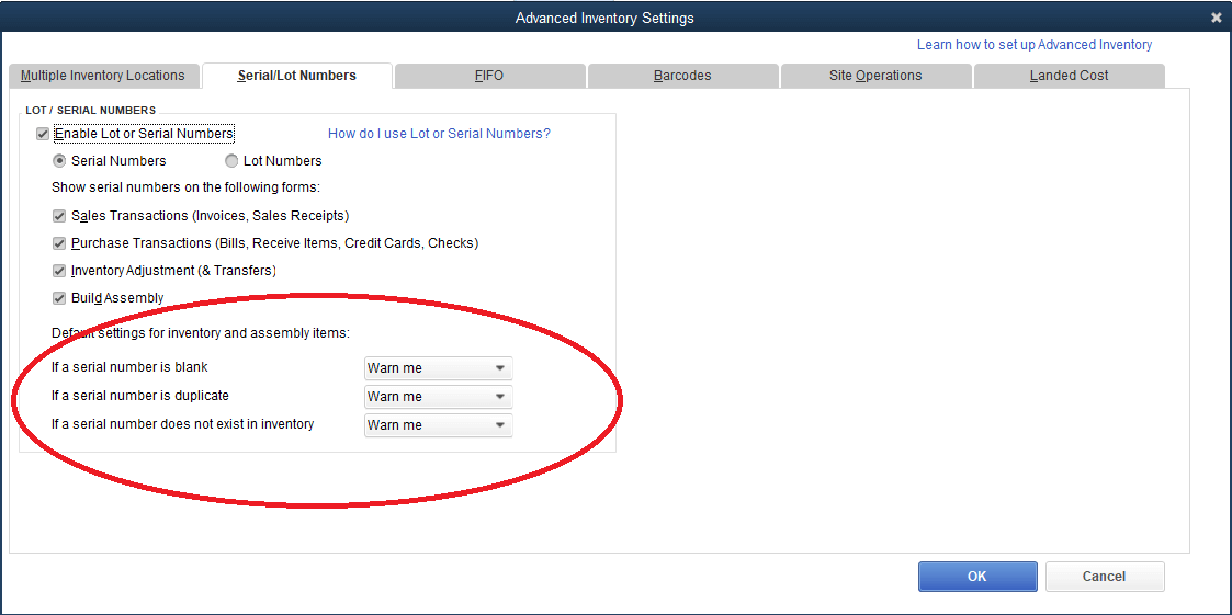 advanced inventroy settings