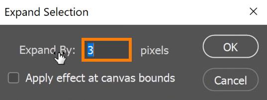 Set Expand to 3 pixels