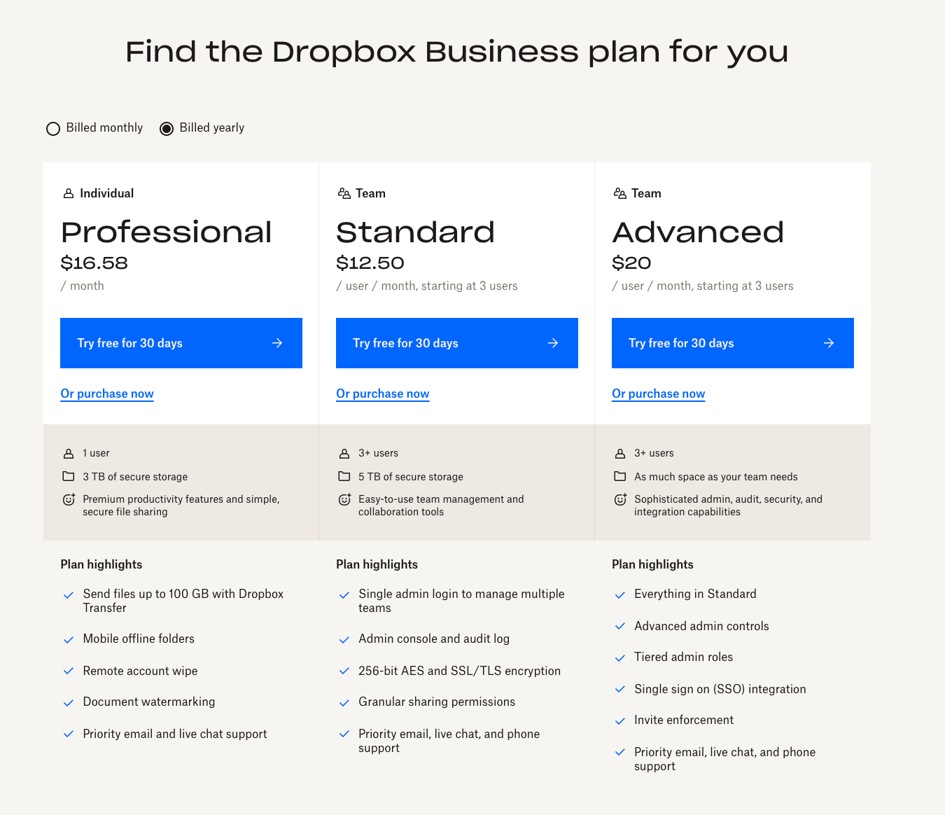 dropbox for business website homepage features
