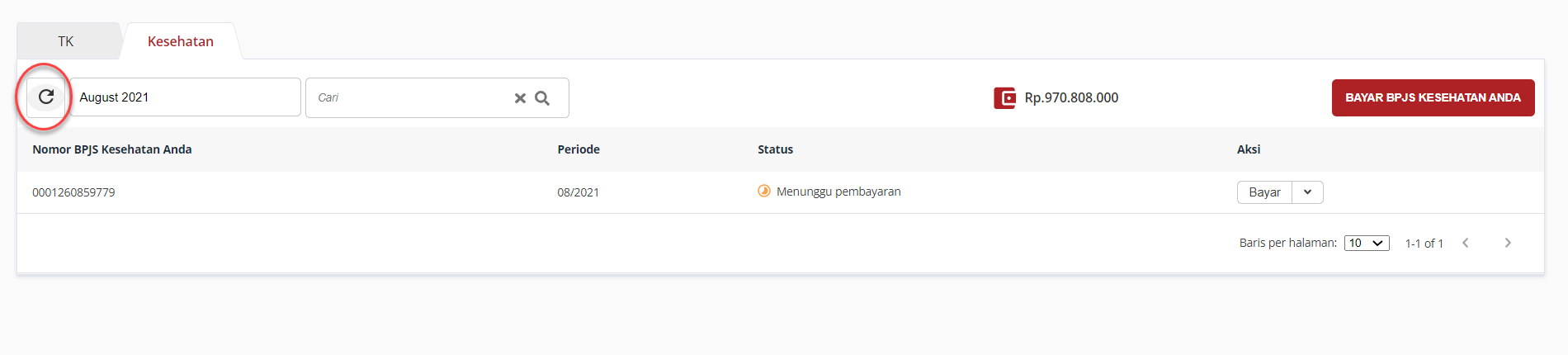 Klik icon refresh apabila tidak menemukan status pembayaran