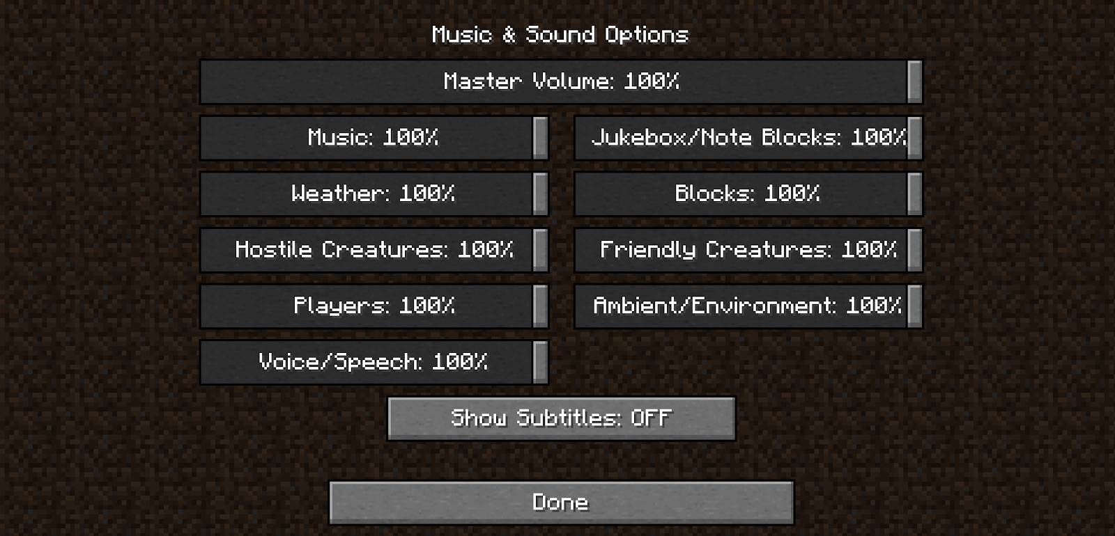 Checking audio inputs settings in Minecraft