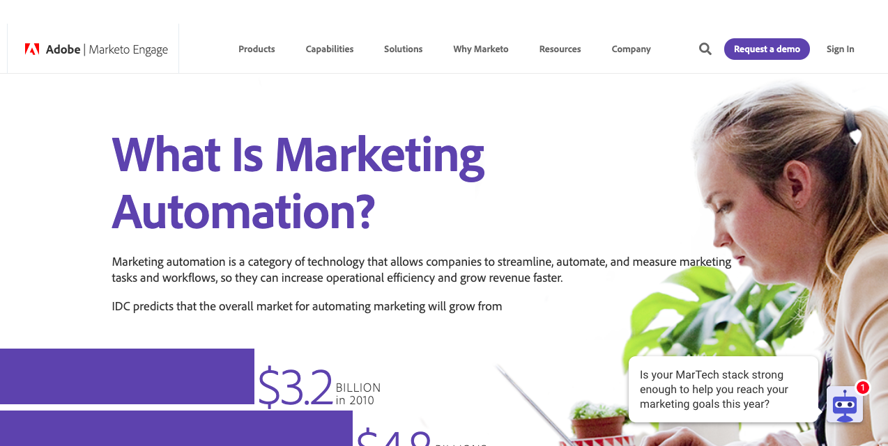 Marketo automation sales page