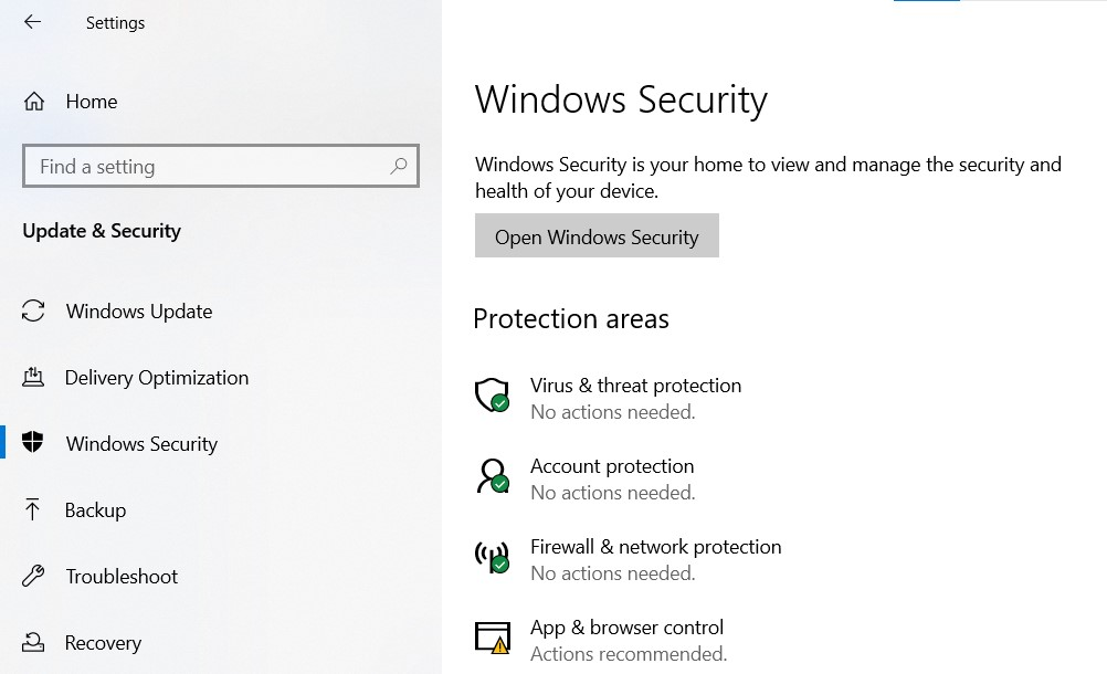 Windows Security Page in Settings