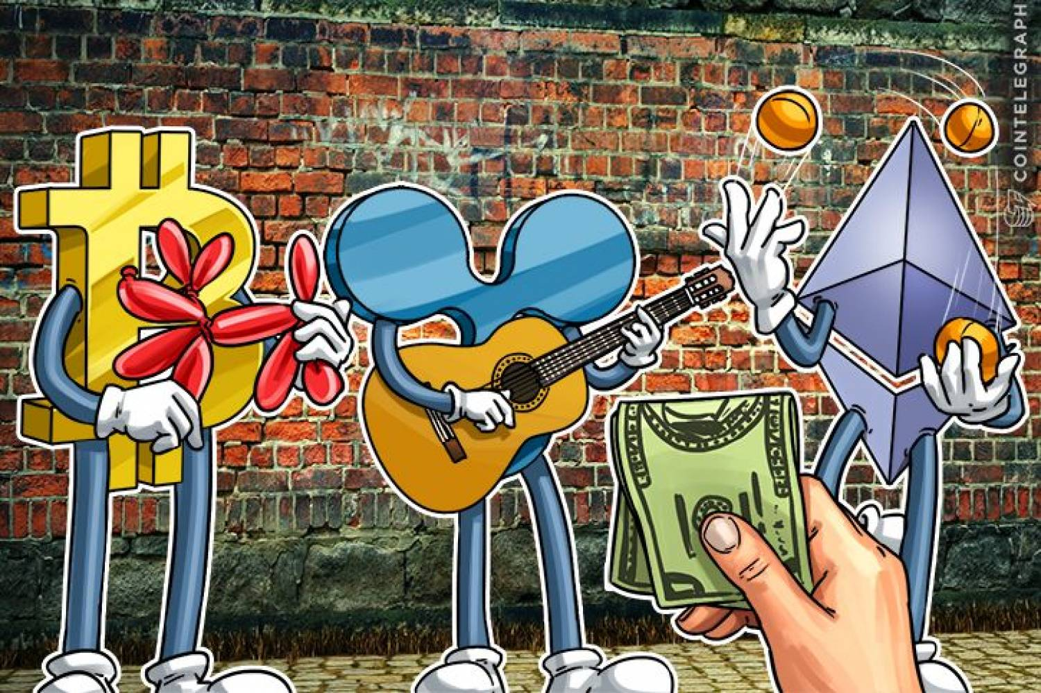 Bitcoin, Ripple and Ethereum as street performers