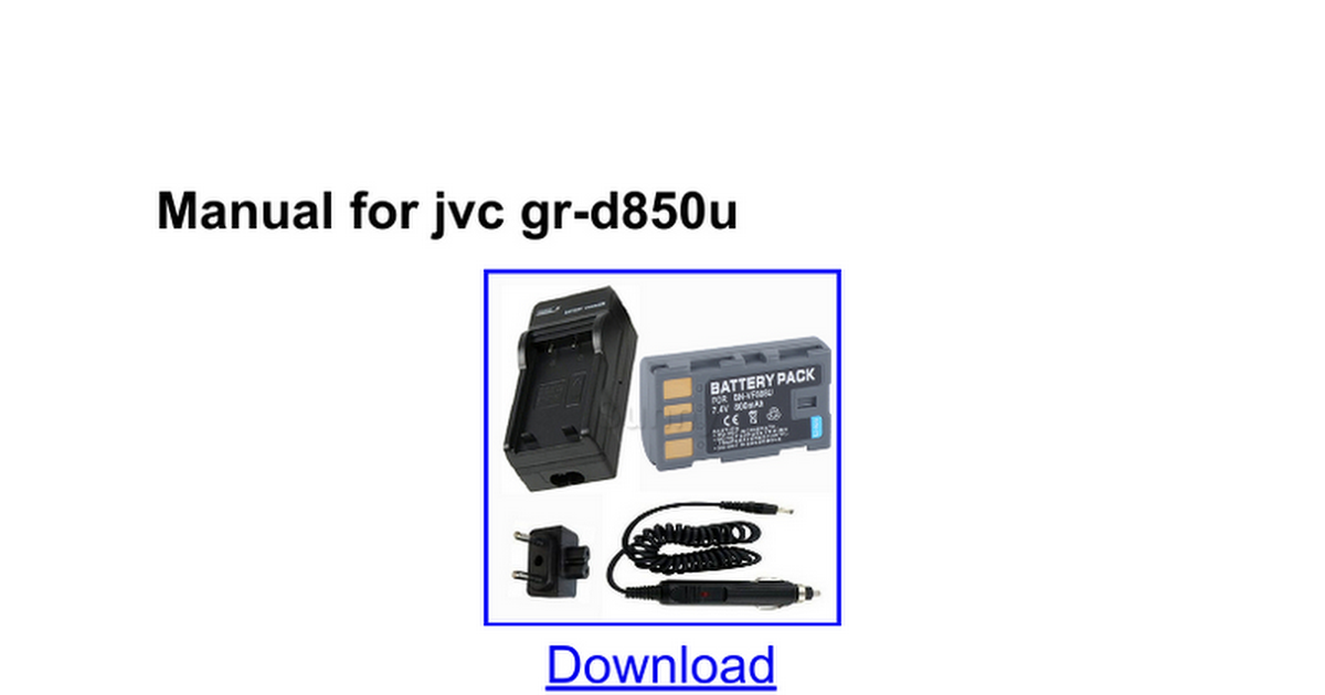 JVC GRDVL500U  Digital Camcorder Technical Manual