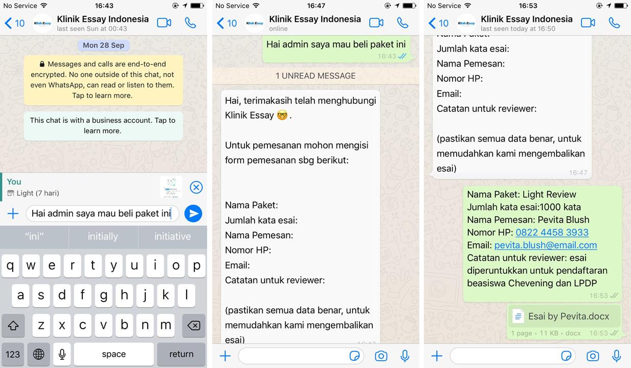 chat dengan customer service Klinik Essay, mengisi formulir dan mengirimkan esai di WhatsApp chat.  Drop esai yang ingin di review di lama chat yang sama