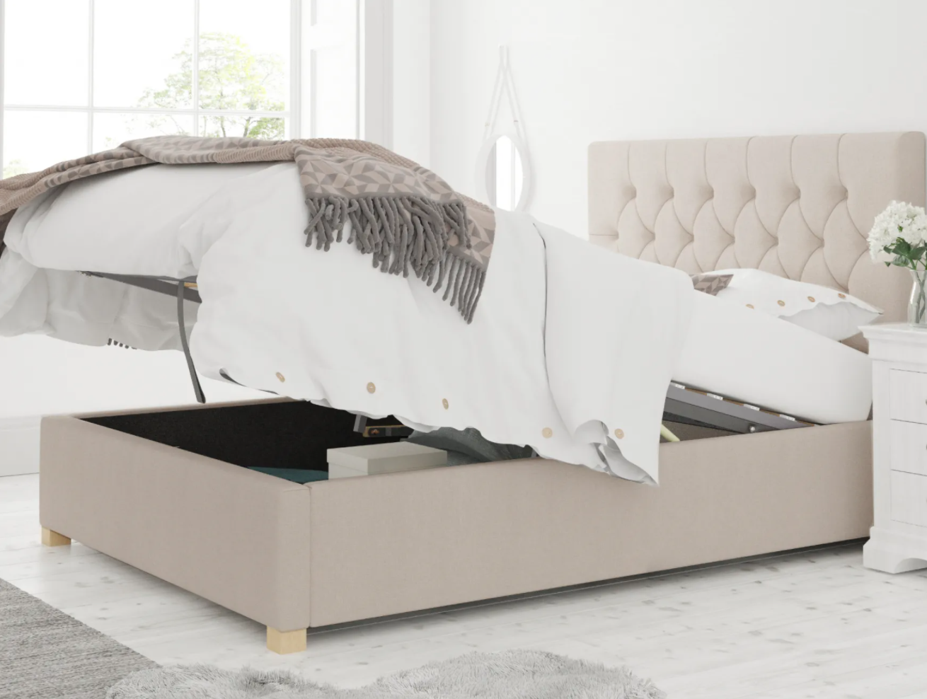 york ottoman bed in pink