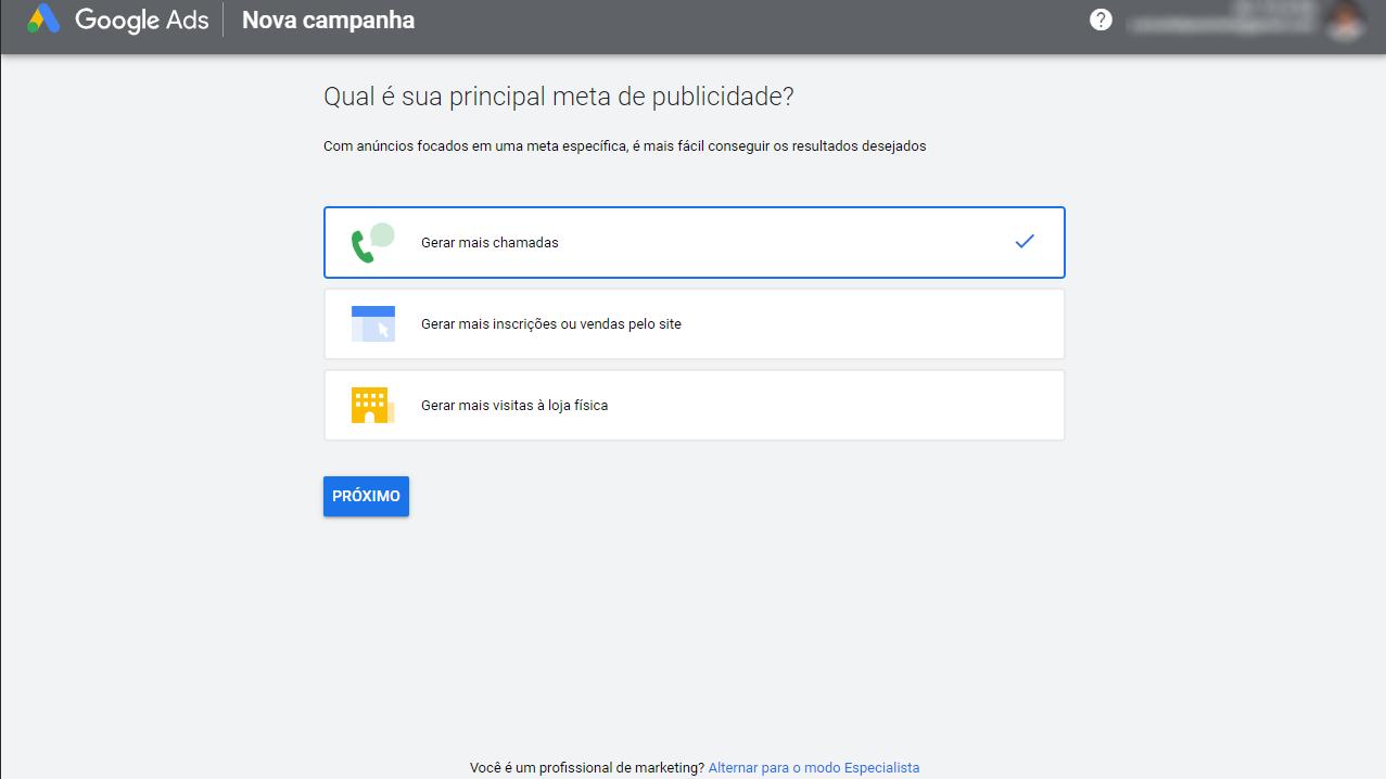 primeira tela para criação de uma nova campanha de retargeting através do google ads