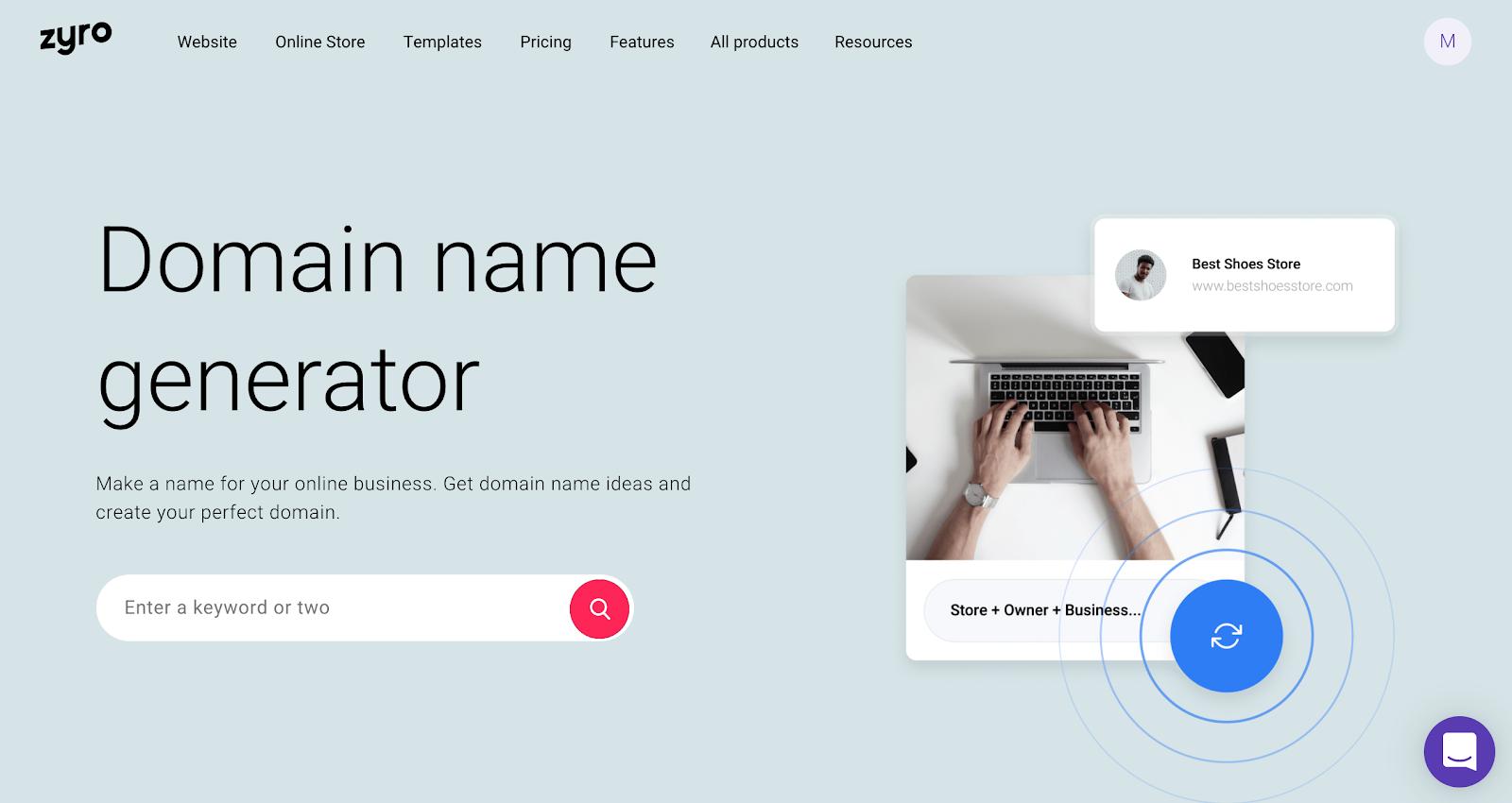 Zyro's domain name generator landing page
