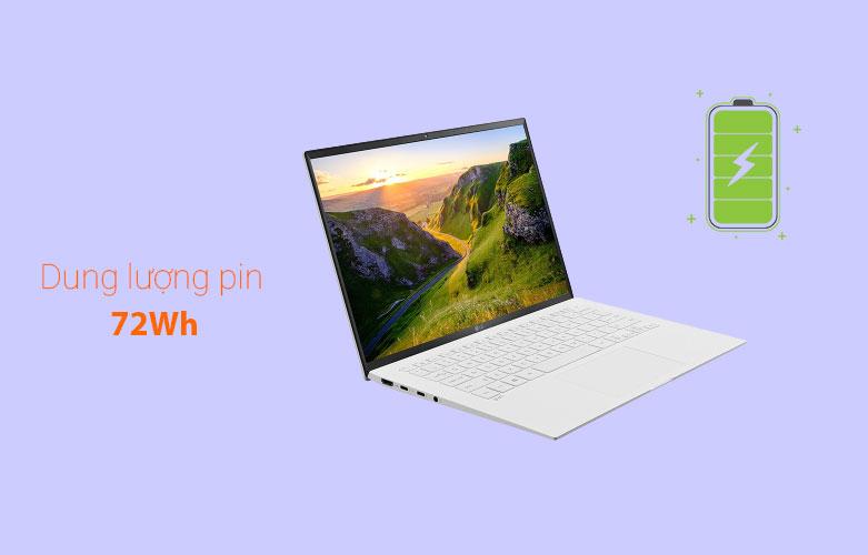 Laptop LG Gram 2021 14ZD90P-G.AX51A5 (i5-1135G7) (Trắng) | Dung lượng pin lớn