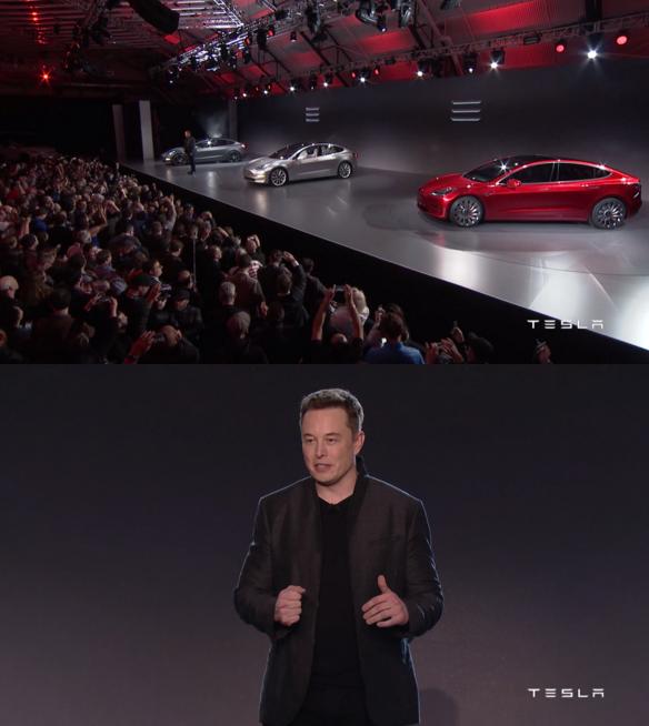 Teslas vd och grundare Elon Musk från eventet i Kalifornen i morse.