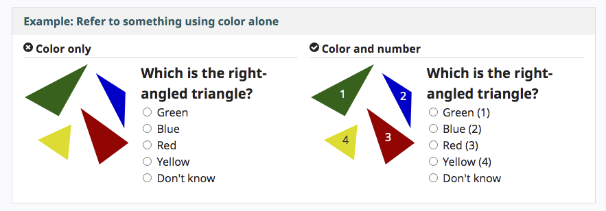 Image of an example of how to refer to colours in an accessible way. Displays two versions of triangle images. Giving an example of how to use colours and number labels rather than just colours to display the different types of triangle.