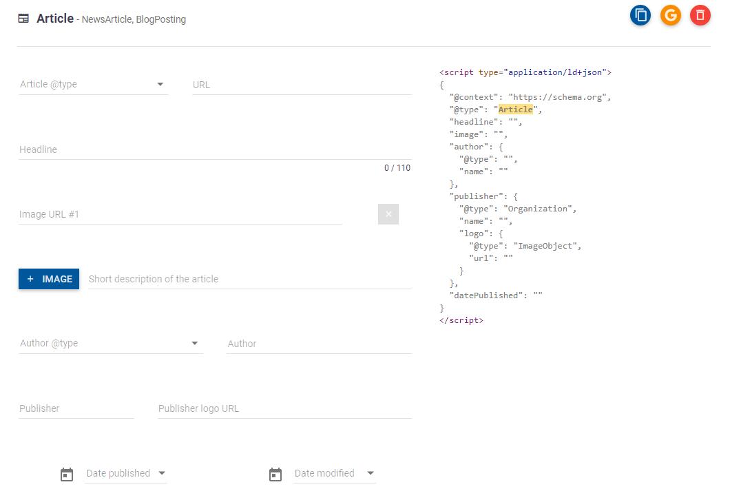 Generating Schema Markup for website