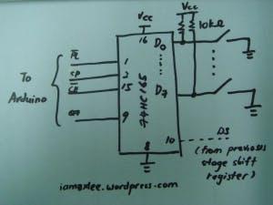 Schematic for 74HC165