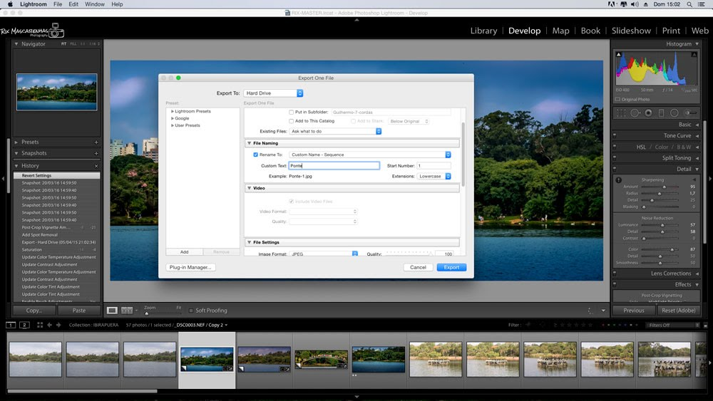 Post-production on Lightroom