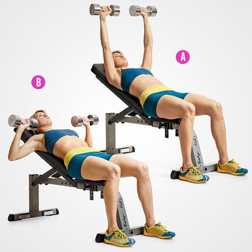 Đẩy tạ đôi trên ghế dốc (Incline Dumbbell Bench Press)