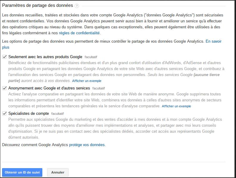 Image création de compte Google ANalytics