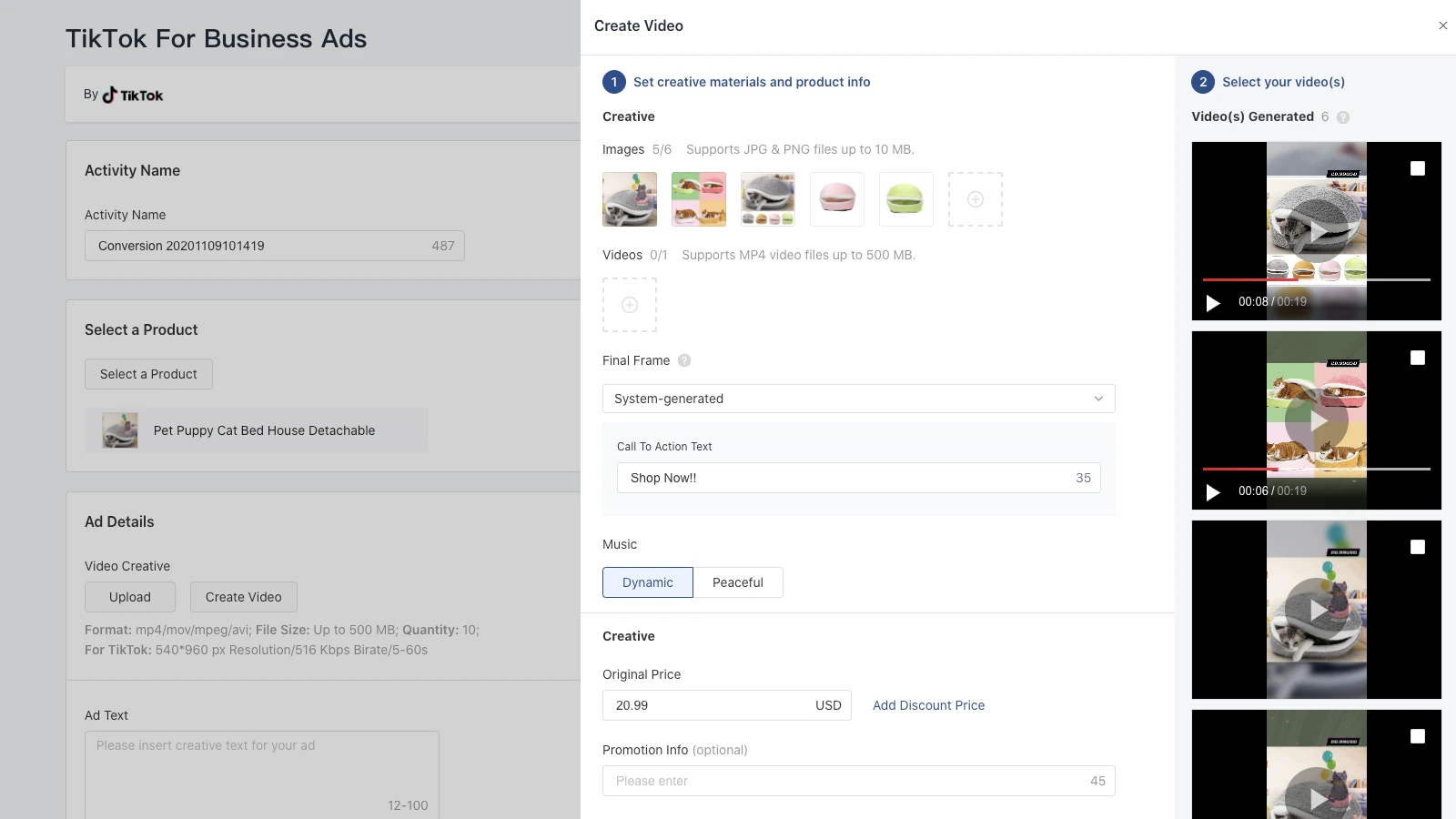 Creating video ads inside the TikTok app for Shopify