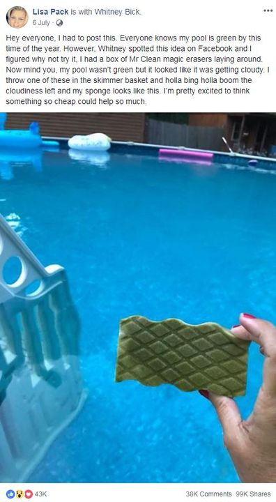 the Facebook post from Lisa Pack showing a picture of the magic eraser that turned green and cleaned her pool