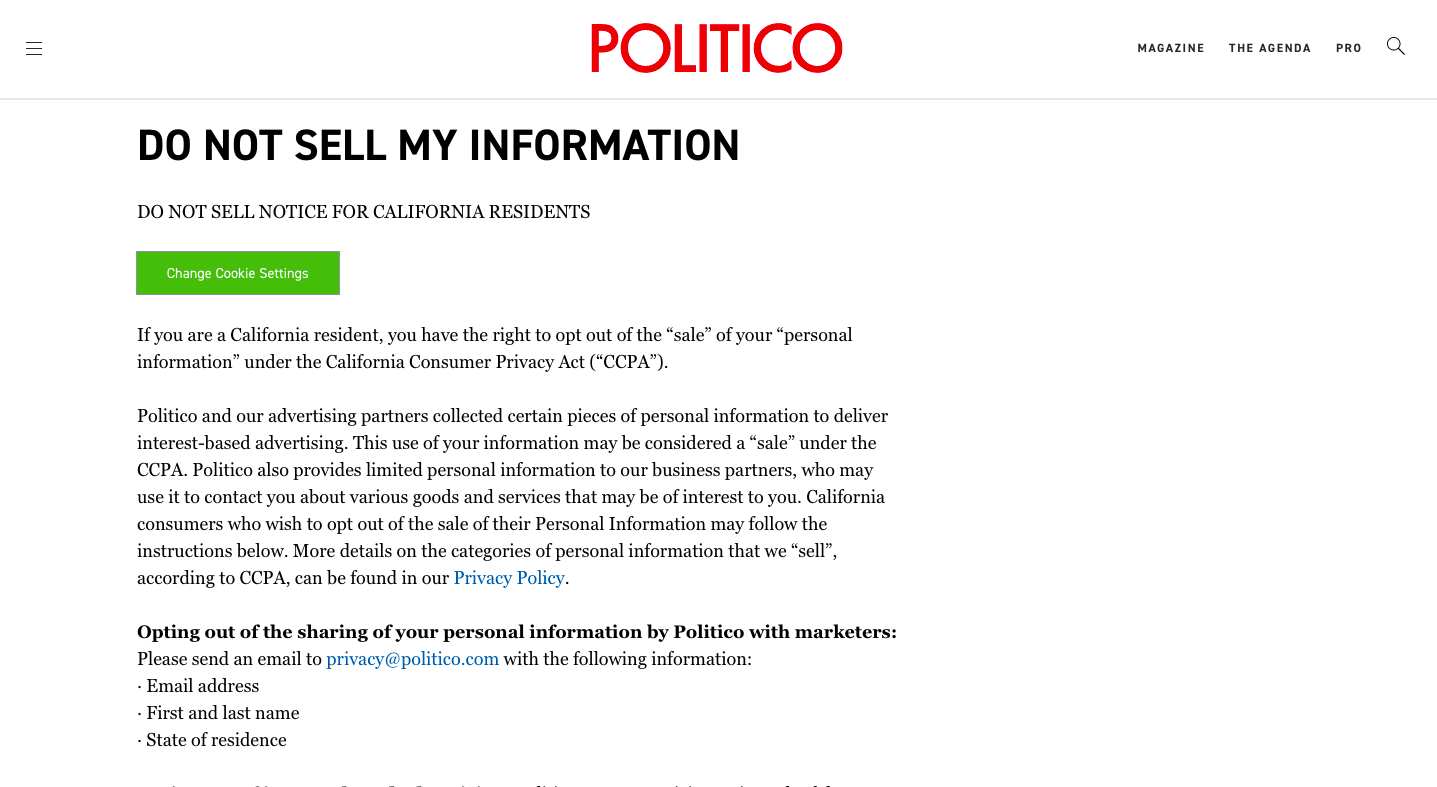 A 'Do not sell my personal information' page on Politico website.