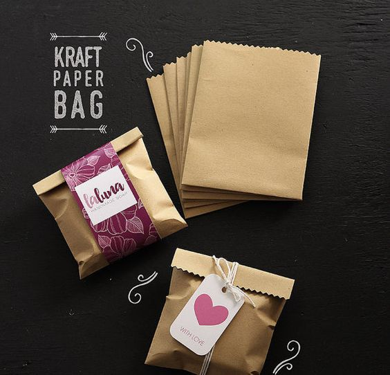 100 pcs kraft paper bags. Size 4 x 5 (about 10 x 13 cm) Perfect for your wedding favor bag, or soap packaging. Listing is for 100 pcs paper bags.