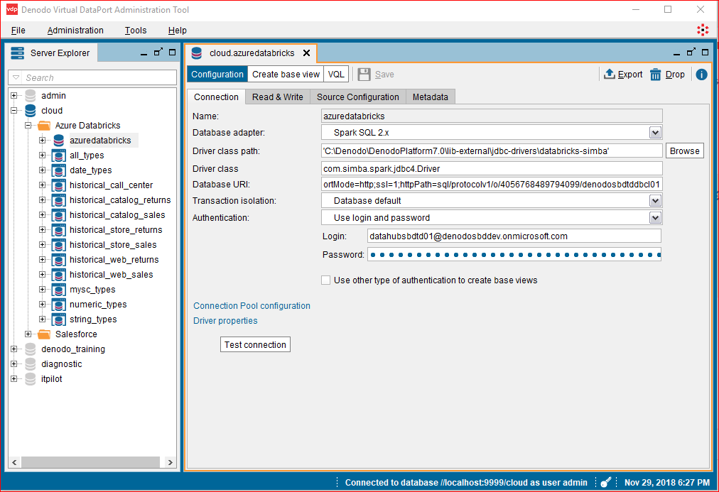 How to connect to Azure Data Bricks from Denodo
