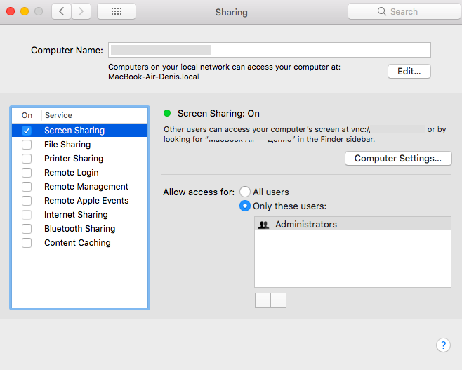 """Screen Sharing"" on a Mac"