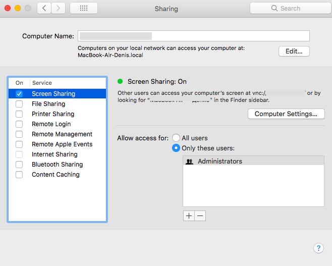 """Screen Sharing"" on a Mac"