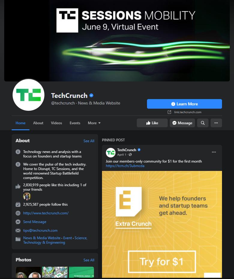 techcrunch facebook page example