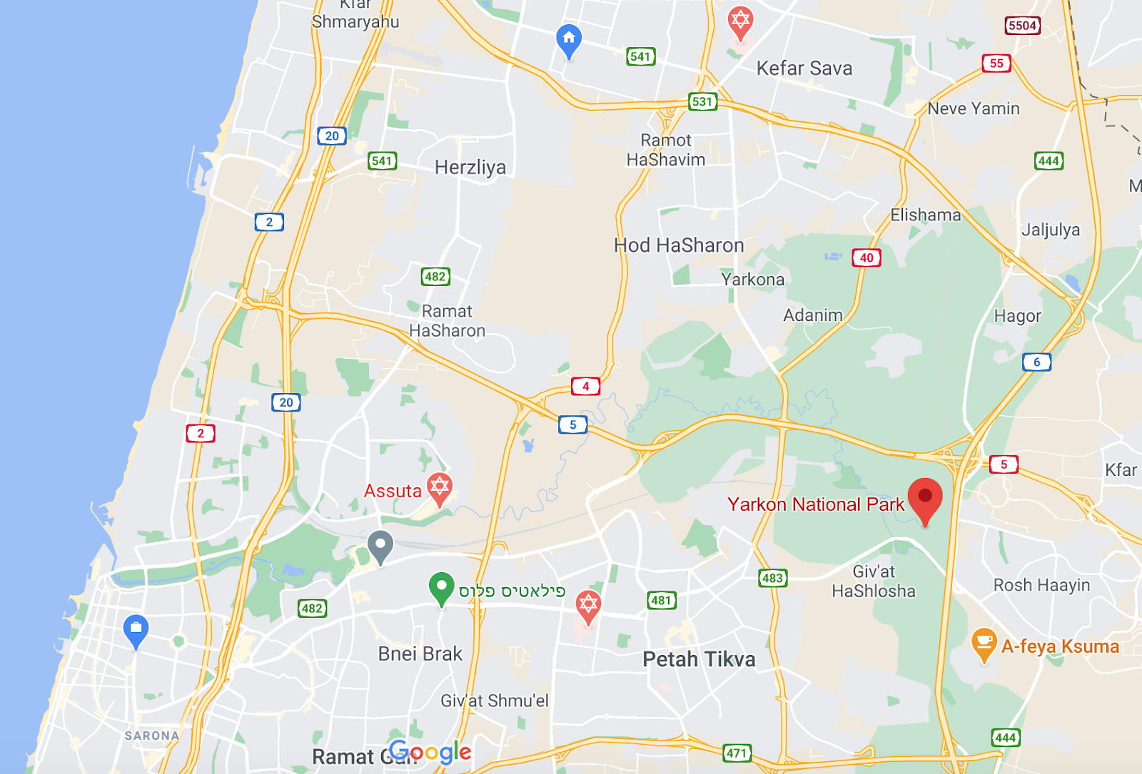 Map to arrive at Yarkon National Park