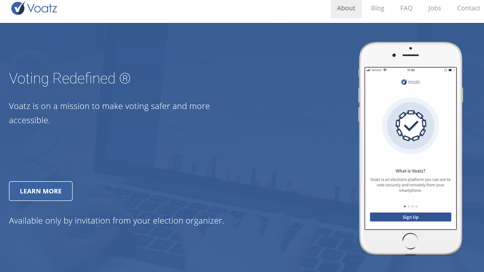 Voatz homepage mobile voting blockchain app