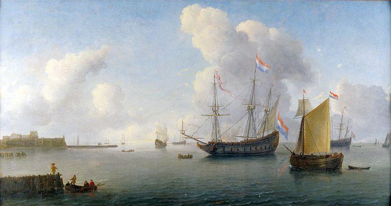 Zicht op de rede van Fort Rammekens bij Vlissingen, Willem Hermansz. van Diest, 1657, collectie Maritiem Museum Rotterdam