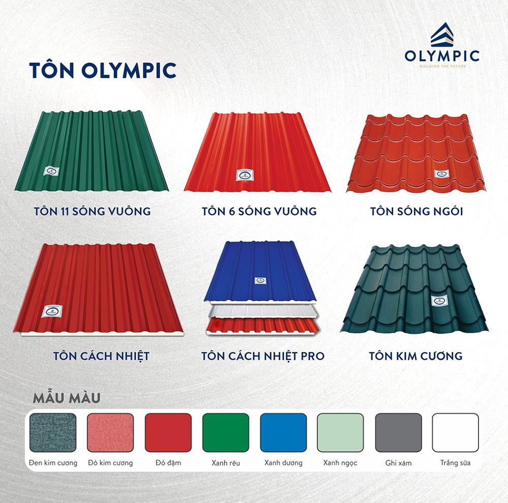 Các mẫu mã, màu sắc phong phú đa dạng của tấm lợp Olympic