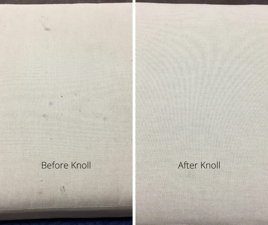 Before and After Hammond Knoll cleaned cushions