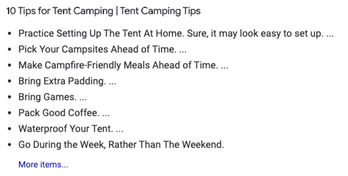"""SERP results for keyword """"camping tips"""""""