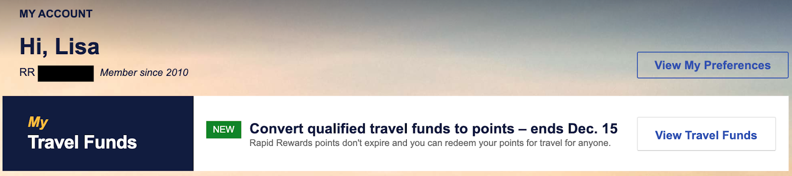 Screenshot of Southwest Travel Funds My Account Page