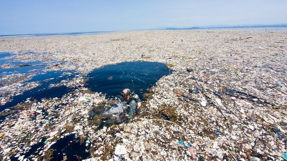 Isla de plástico situada cerca de las costas de California, Estados Unidos.
