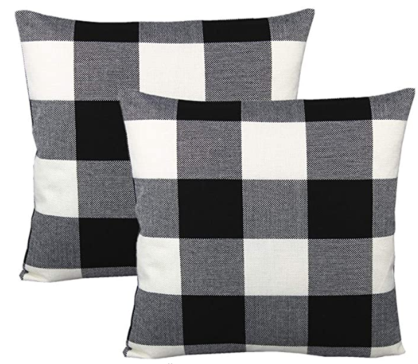 shamrockers plaid throw pillow covers black and white and grey