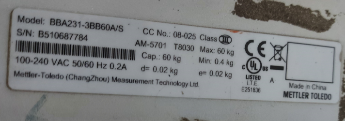 Actual balance specification where the value 'e' is given written in a digital weighing scale specifications