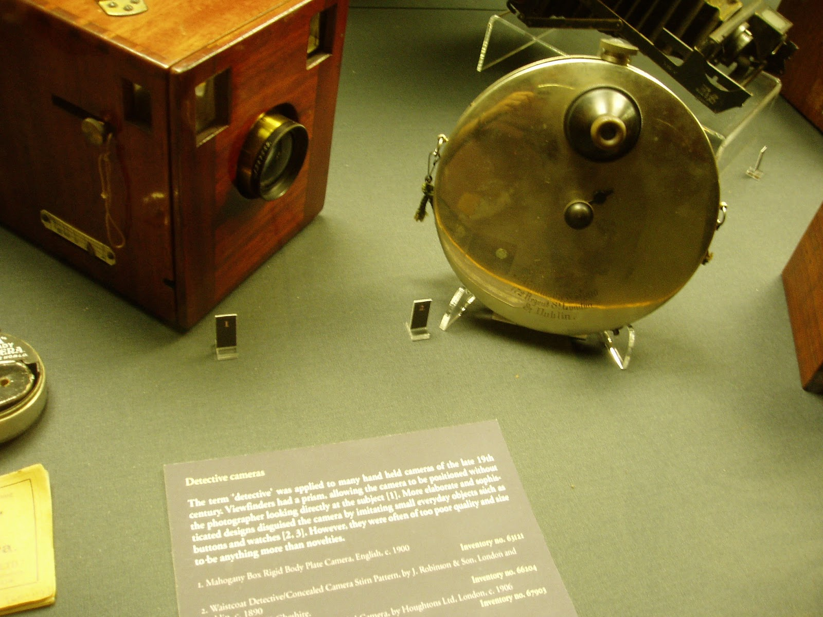 An antique spy camera at the Museum of History and Science. These cameras were put on a string under a waistcoat with the lens poking out a buttonhole.