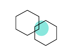 two hexagons with a blue circle behind them